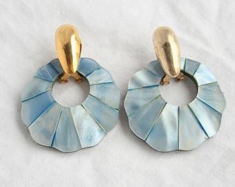 Blue Abalone Shell Earrings Vintage Pierced 1980d Lustrous Blue Faux Shell Doorknocker Dangles