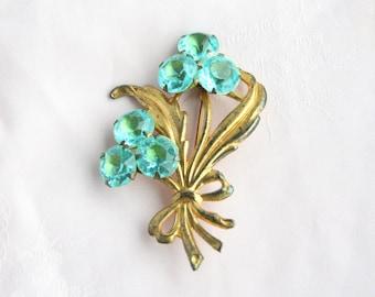 Vintage 1940s Aqua Rhinestone Sterling Vermeil Brooch Aqua Blue Rhinestone Floral Bouquet Brooch Pin