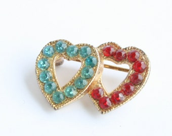 Double Heart Brooch Vintage Red Aqua Rhinestones Ruby Red  Heart Shaped Pin