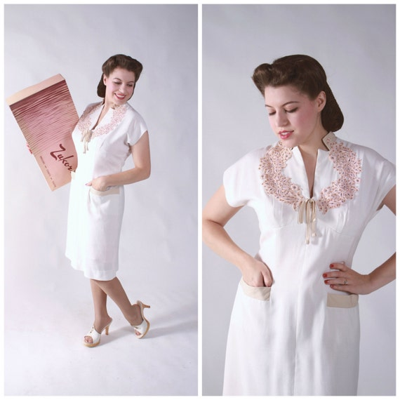 Vintage 1950s Dress - Alluring White Linen Wiggle Dress with Applique and Rhinestones