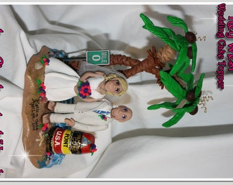 Key West, Wedding Cake Topper, Tropical, Personalized
