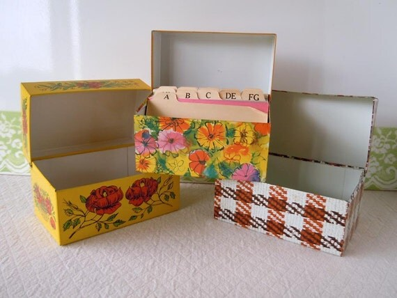 1970s Metal Recipe Box Collection Kitchen Storage Containers Tins