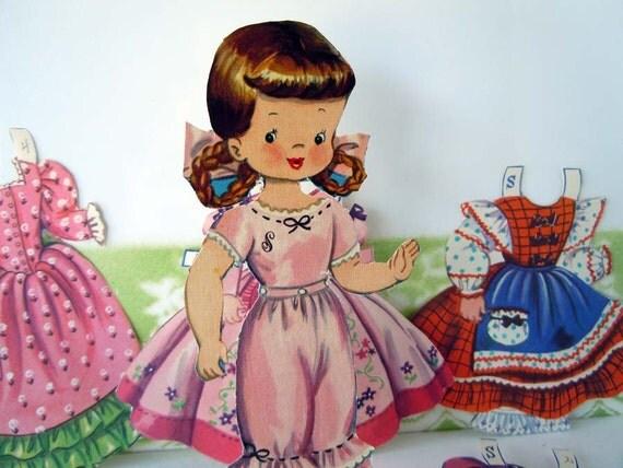 1948 Storybook Paper Dolls Little Miss Muffet Jack and Jill Lucy Locket Bessie Brooks Merrill Company