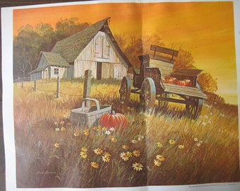 Large Vintage Print of a country Barn. FREE U.S. SHIPPING