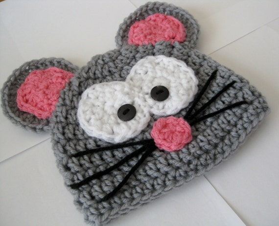 Knitting Pattern Mouse Hat : Items similar to Crochet Mouse Hat on Etsy