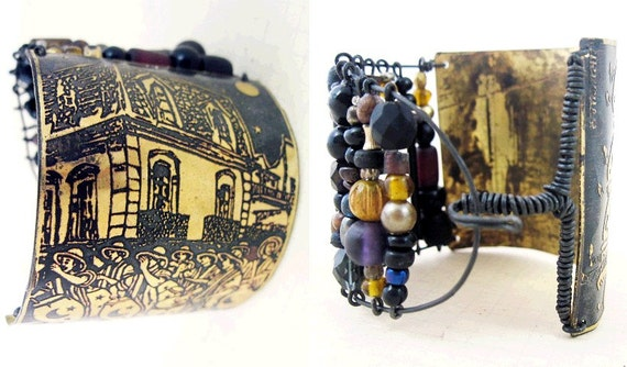 Join the Call. Etched brass cuff with dark beads.