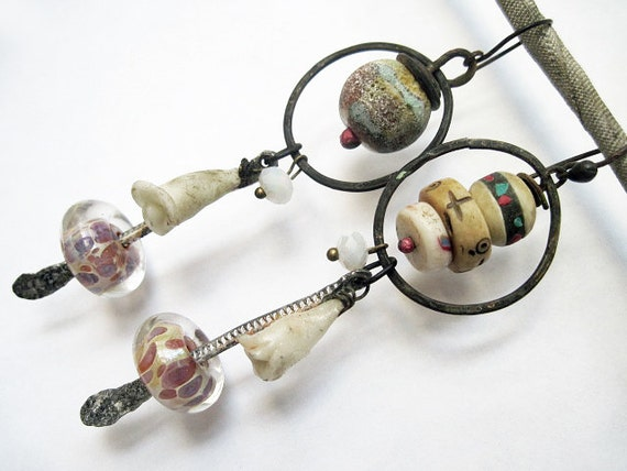 Change. Rustic Gypsy beachy, victorian tribal ivory white bone lampwork assemblage earrings