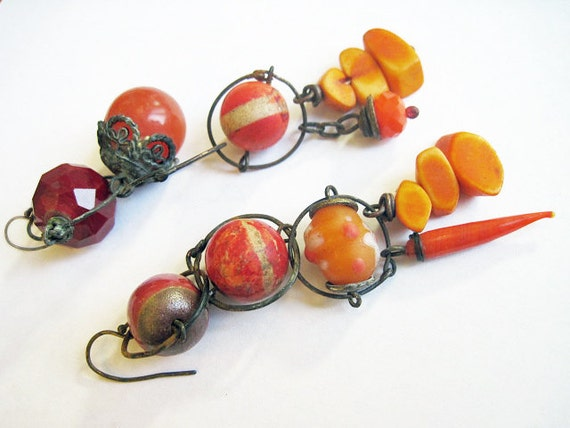 Let It Go. Rustic Gypsy vintage, victorian tribal orange coral red brown assemblage earrings