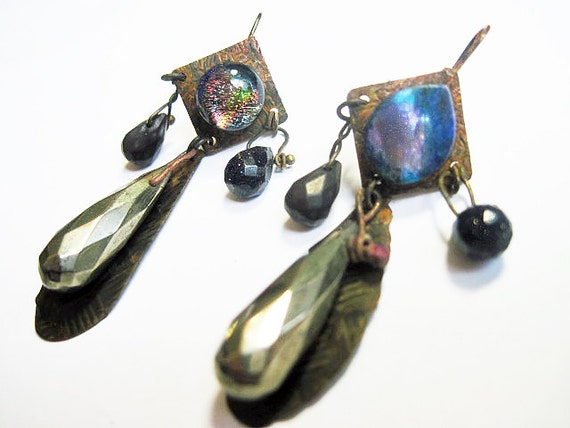 Concentrate Your Way to Heaven. Rustic Gypsy dark, victorian tribal asymmetrical assemblage earrings with pyrite gemstone dichroic.