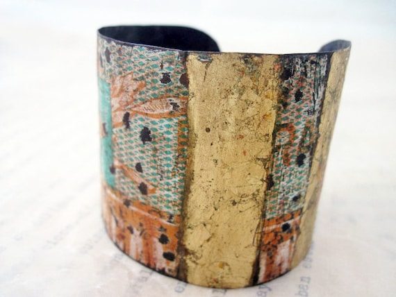 Understanding. Recycled Rustic Tea Tin Cuff Bracelet with Gold Leaf.