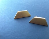 bronze shard earrings surgical steel post: Trapezoid