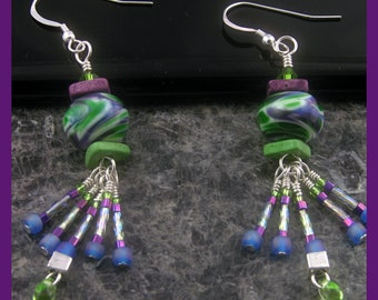 BirdDesigns Handmade Lampwork Earrings - ooak - J515