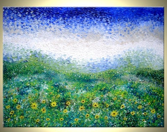 Original Large Abstract Yellow Impressionist Sun Flowers Impasto SUNFLOWER Landscape Art Textured Palette Knife PAINTING by Lafferty - 40x30
