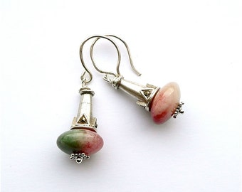 Watermelon -- Sterling Silver Dangles With Watermelon Jade