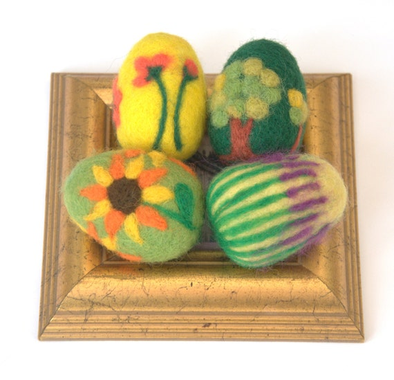Felted Easter eggs balls ornaments set of 4 felt wool spring decor yellow green gift her lavender sachet tree decoration astashtoys