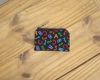 Zippered Pouch in an ABC,123 Print- Credit Card Size