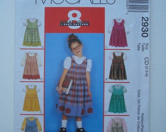 McCall's 2930 - Sewing Pattern for Children's and Girls' Jumper and Blouse - New and Uncut