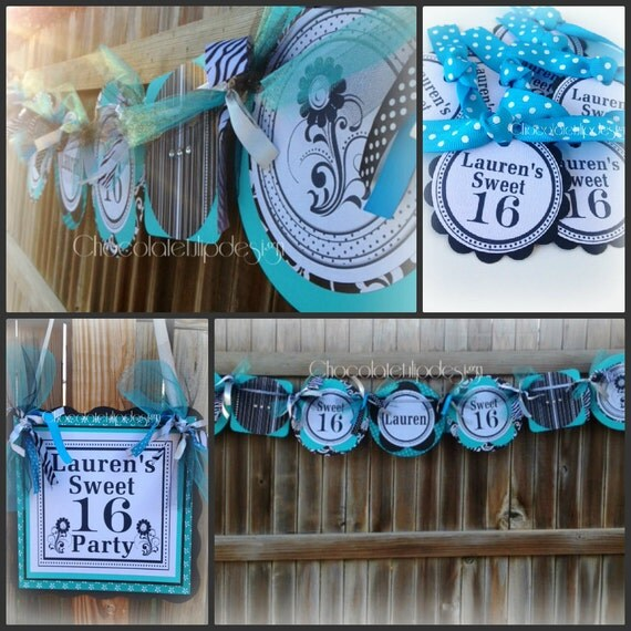 Items Similar To 16th Birthday Banner Black Turquoise