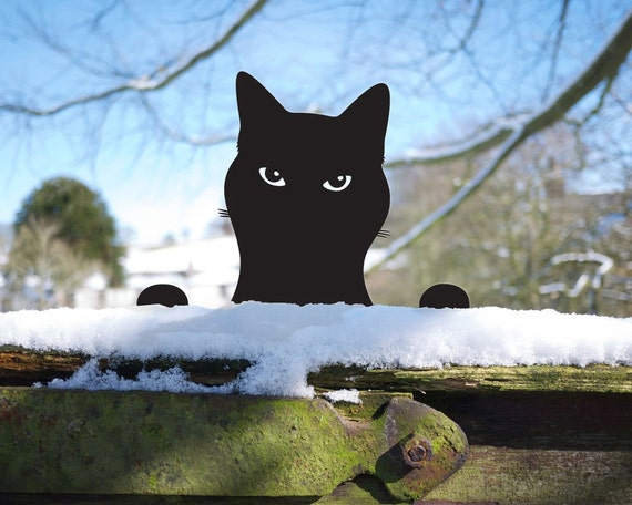 Garden Cat Ornament for Kitty Lovers, Metal Peeping Tom Yard Art