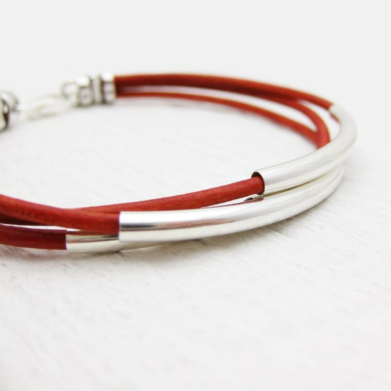 Red Leather Bangle Bracelet Solid Sterling Silver Tubes, Berry Deep Blood Crimson Valentine Red, Romantic Scarlet Bohemian Stacking Bracelet