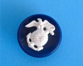 Vintage Plastic Blue and White Military Button White Raised Eagle World and Anchor on Blue Base Self Shank