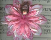 Fairy Flower Doll with Pink and White Varigated Petals - Brunette