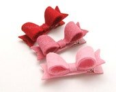 Mini Bow Felt Hair Clips, Set of 3 Mini Felt Bows for Girls, 2 inch Felt Bows with Tails, Felt Hair Bows for Toddlers, Love, Pink, Red