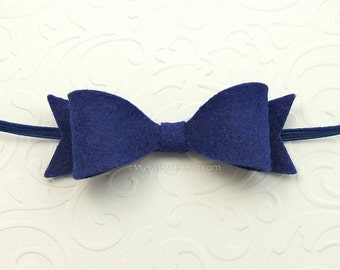 Royal Blue Felt Headband, Baby Bow Headband, 85 Colors, Skinny Elastic, Nautical Felt Headband for Baby, Newborn Headband