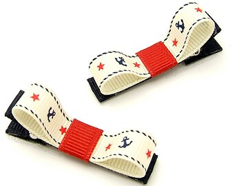 Nautical Hair Clips, Anchor Hair Clips, Rope, Stars, Anchors, Red Navy Antique White Pin Up Girl Sailor Hair Clips Toddlers Girls Women