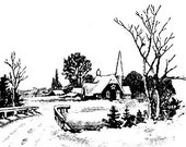 WiNTERSCAPE with CHuRCH -  CLiNG Rubber STAMP by Cherry Pie Art Stamps