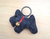 Charcoal Gray Scottie Key Chain - Zipper Pull - Cell Phone Charm