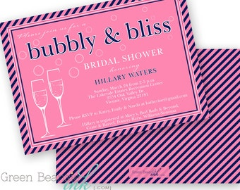 PINK and NAVY Bubbly & Bliss Bridal Shower Printable Party Invitation Printing Available
