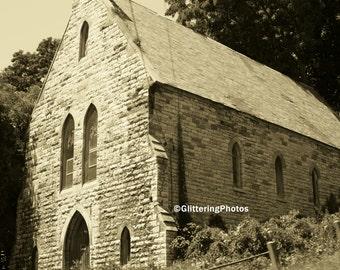 Abandoned, Church, Fonda, New York, Fine Art, Photography, Print, Sepia Tone