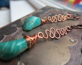 Bright Green Amazonite Stone and Copper Earrings