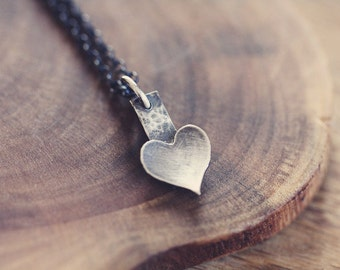 Tiny -  heart necklace - silver necklace - simple jewelry - Valentines day - etsymetal team