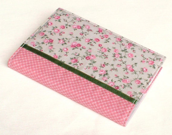 Fabric Journal - Little Roses - Handmade Fabric Cover A6 Notebook, Diary  - Pink Flowers on Light Green Grey and Gingham with Satin Ribbon