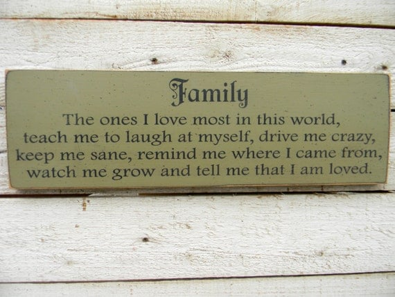 Family - wood primitive sign