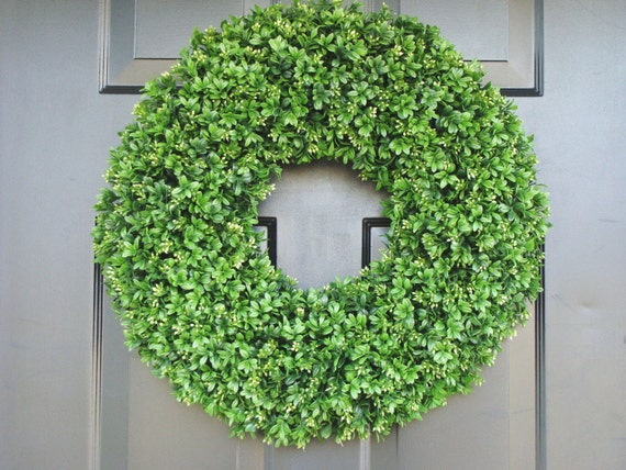Boxwood Wreath- Summer Wreaths- Outdoor Decor- Wall Art- Shabby Chic Decor- Faux Boxwood Wreath-Wedding Wreath- Spring Decor
