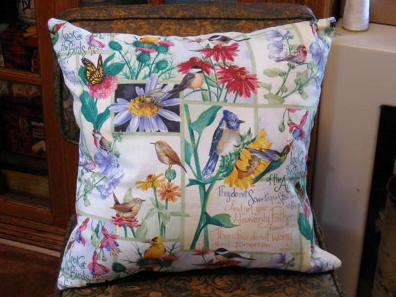 15 Inch Throw Pillow Covers : Items similar to Accent Pillow - Throw Pillow - Pillow Cover with Birds and Bible Verse 15