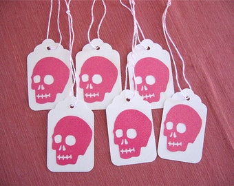 Day of the Dead 6 Glittery Hot Pink Skull Gift tags