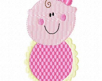 Baby Girl with Bib and Bow Machine Embroidery Design 4x4 Hoop Instant Download Sale