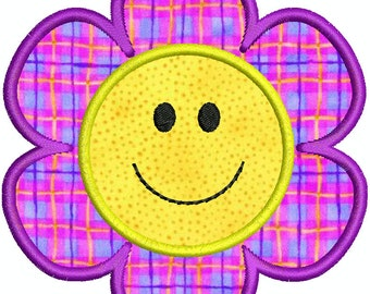 Smiley Face Flower Applique Machine Embroidery Designs 4x4 Hoop Instant Download
