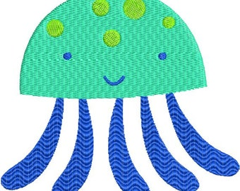 Jellyfish Jelly Fish with fill Machine Embroidery Design 4x4 and 5x7 Instant Download