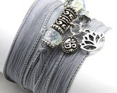 Slate Hand Dyed Silk Wrap Yoga Bracelet with Lotus and Mini Om Disc - anjalicreations