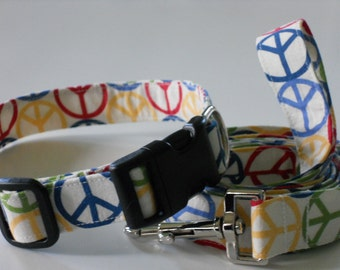 Matching Collar and Leash Set - Peace Signs in Primary Colors