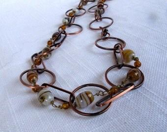 SALE Vintage Stone Chain Necklace,Tiger Stone Copper Chain Necklace,Southwestern Style,Unique Jewelry,Estate Vintage Jewelry,9094