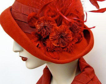 Cardinal Red Cloche with Flowers and Feathers/ Velour or Straw