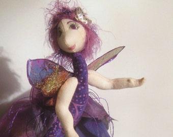 ooak fairie cloth art doll, Papillon