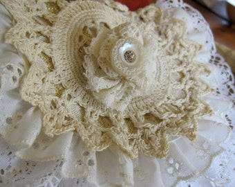 Romantic Shabby Chic Boho Hippie Vintage Doily Purse with Shoulder Strap