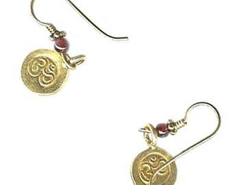 tiny Yoga earrings 10mm Vermeil Om Aum 4mm gemstone